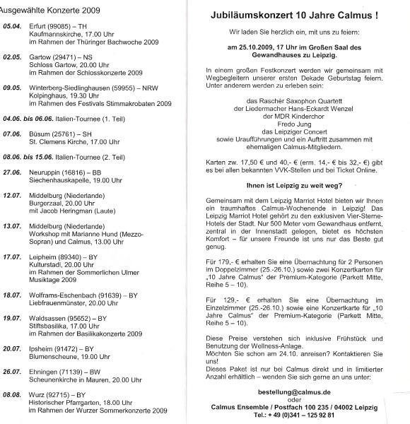 Foto: Calmus-Ensemble, Leipzig - Konzerttermine 2009