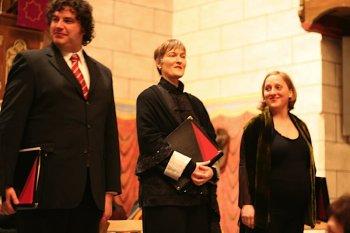 Foto: Von rechts: Uta Kraus; (Magd - Gläubige Seelen) Sopran, Barbara Rotering; (Tochter Zion) Sopran, Mitte, Jean-Sébastien Stengel (Judas) Altus.