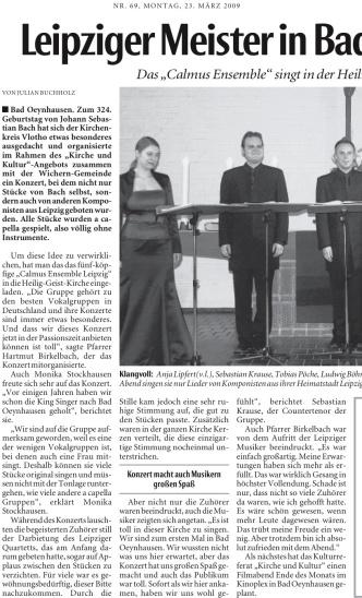 """Foto: Rezension der NW über das """"Calmus Ensemble"""" in Bad Oeynhausen"""