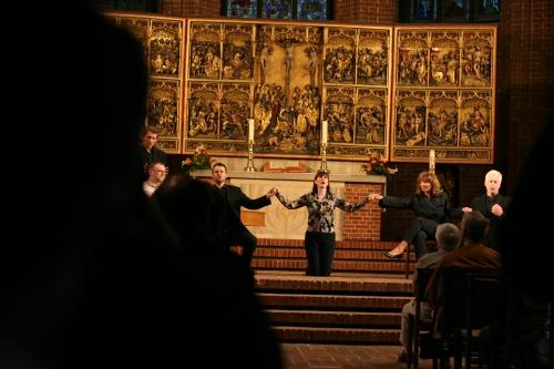 "Szenenfoto: ""I Fagiolini"" In Aktion Marktkirche Hannover (Fotorechte: V. Hege)"