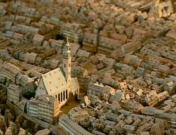 Die Umgebung der Thomaskirche im Modell