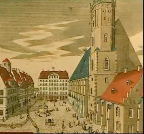 Thomaskirche und Thomasschule Leipzig um 1700