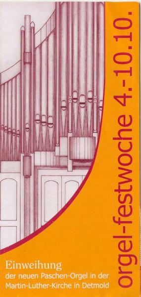 Flyer Orgelwoche in Detmold zur Orgelweihe Ev.luther.Kirchengemeinde