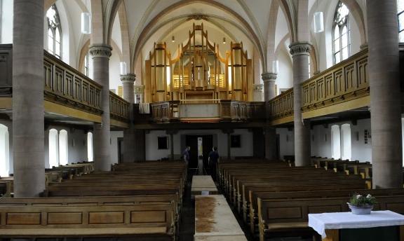 Sicht auf den Neubau der Orgel in der Ev. luther. Kirche Detmold