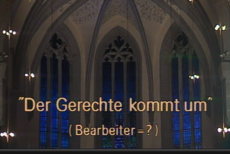 "Video: J.S.Bach 7 Kuhnau - Motette ""Der Gerechte komm um"""