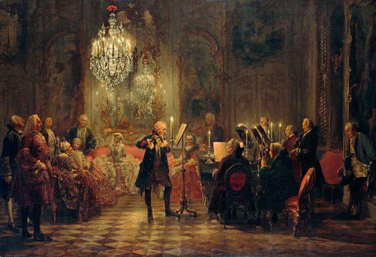 Flötenkonzert Friedrichs II. in Sanssouci Gemälde von Adolph Menzel 1850–52