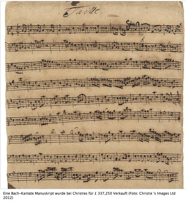"""Bach-Noten-Handschrift """"Ich liebe Den Höchsten von ganzem Gemüte"""" BWV 174 versteigert"""