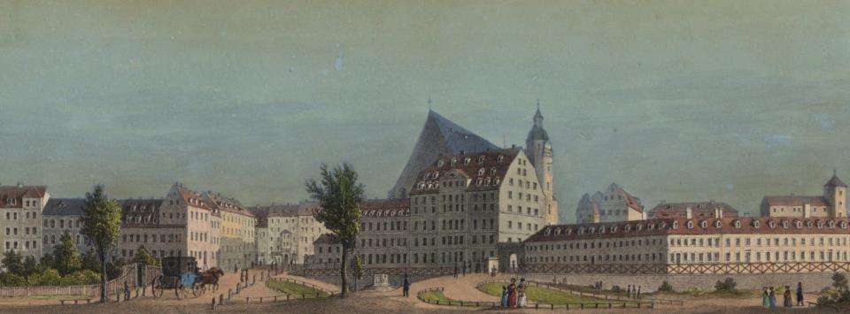 Ausschnitt eines historischen Leipzig Leporellos mit Thomaskirche und Thomasschule im Hintergrund FotoSammlung BachArchiv Leipzig