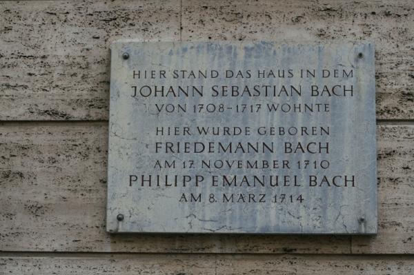 Gedenktafel J.S. Bach in Weimar