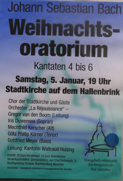 Aufführende Weihnachtsoratorium Kantaten 4-6  in der Stadtkirche Bad Salzuflen