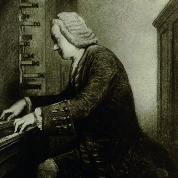 Johann Sebatian Bach an der Orgel