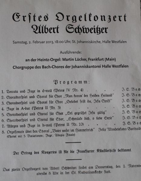 Original-Programm von 1928 - Erstes Orgelkonzert in Frankfurt von Albert Schweitzer