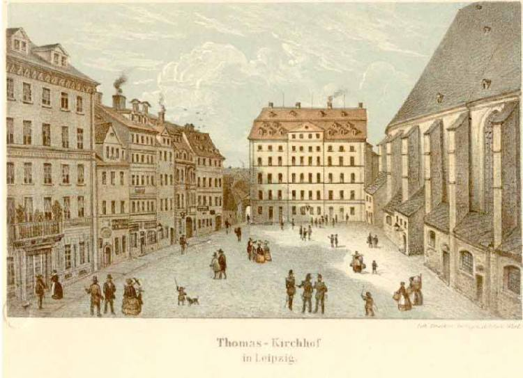 Thomaskirchhof um 1830, Farblithografie von Adolph Werl
