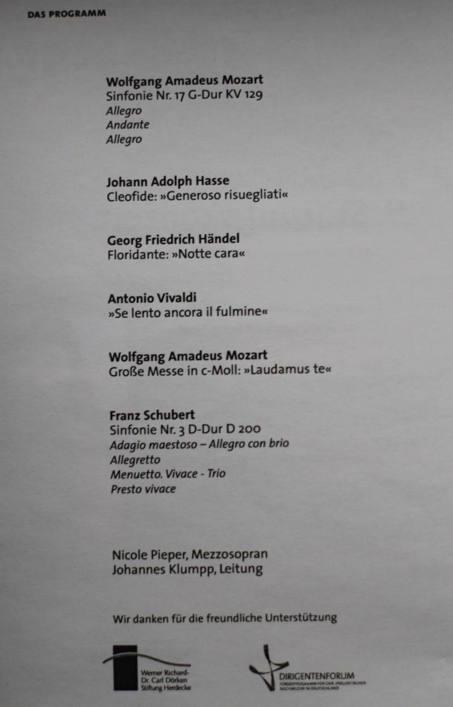Programm des 10. Stifter-Konzertes