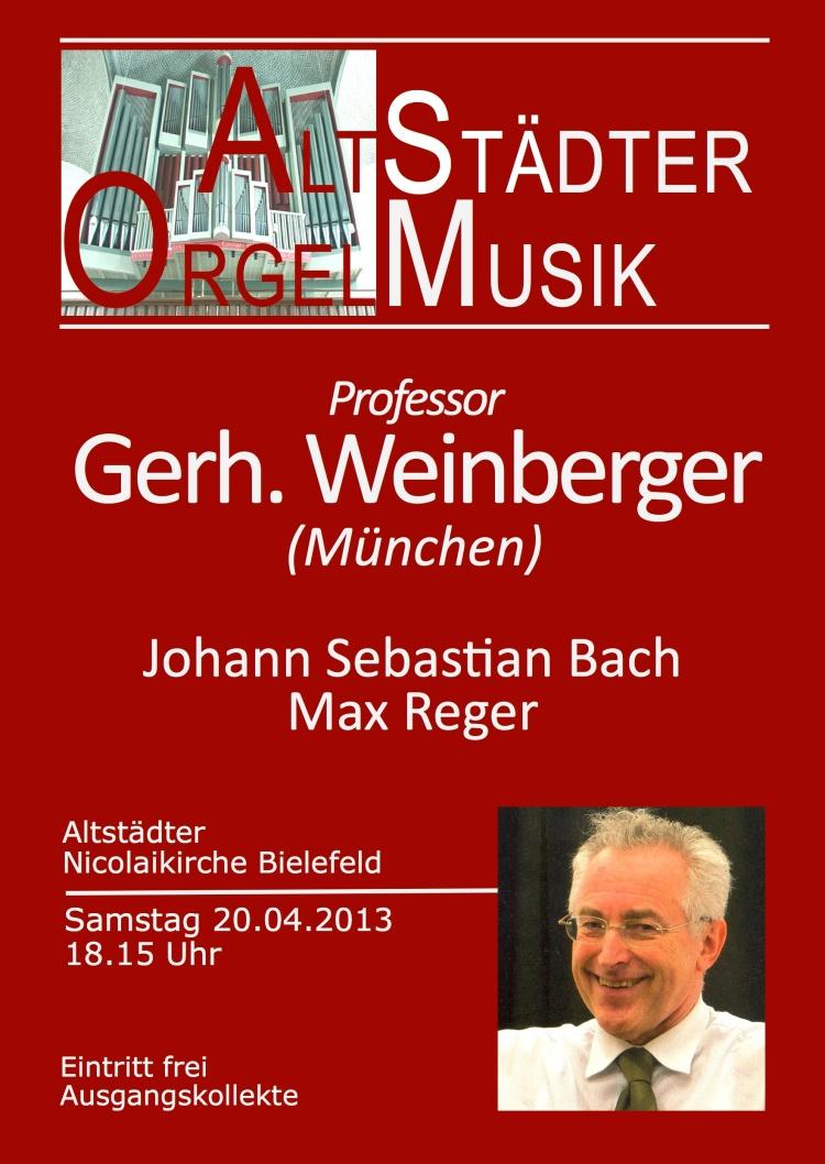Orgelkonzert Gerhard Weinberger an der Beckerath-Orgel Nicolaikirche Bielefeld