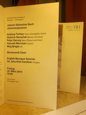 Programm - Johannes-Passion BWV 245 in der Philharmonie Köln (Bildrechte: Leen Roetman).