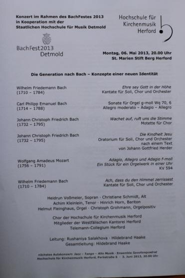 Das Programm zum BachFest in St. Marien