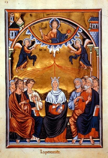 Pfingstdarstellung im Ingeborg-Psalter (um 1200)