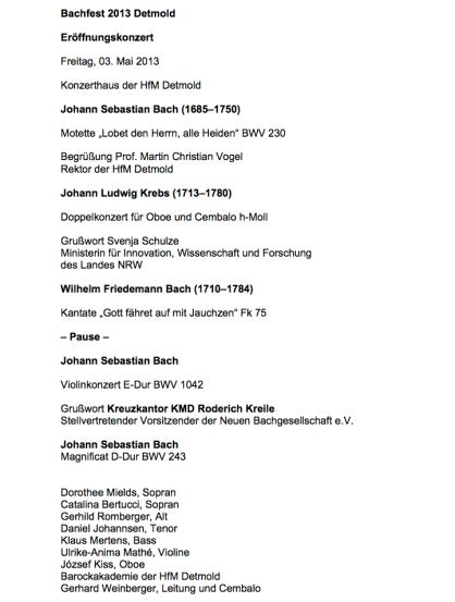 Das Programm vom Eröffnungs-Konzert am 3.Mai 2013 in der Konzert-Halle der HfM Detmold.