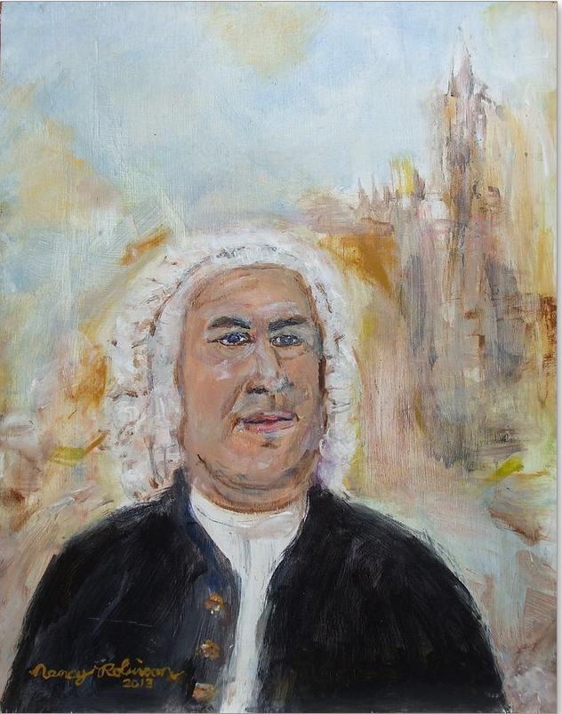 Ein großartiges neues  Gemälde von Johann Sebastian Bach. Medium Painting - Acrylic On Board  Description Copyright by Nancy Robinson 2013.