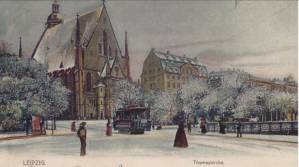 Alt-Ansicht auf die Thomaskirche in Liepzig