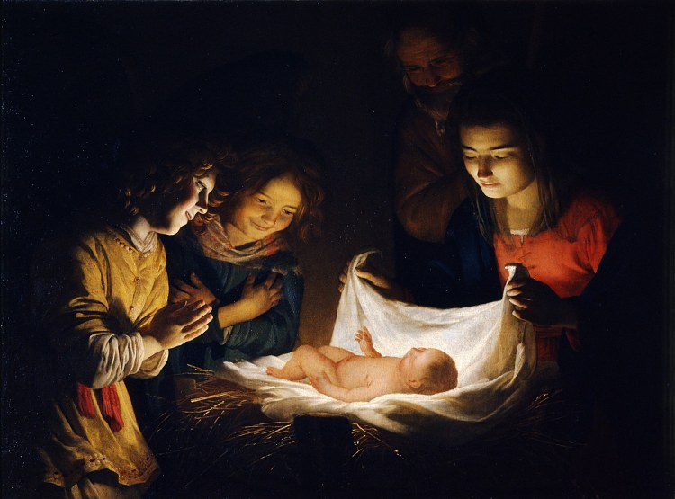 Gheritt van Honthorst Anbetung des Kindes 1620 - Öl auf Leinwand Galleria degli Uffizi, Florenz.