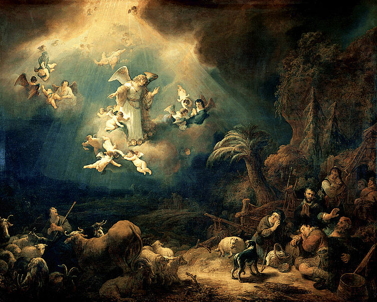 Gemälde von Govert Flinck (1615 1660) Engel verkündet die Geburt Christi an die Hirten.