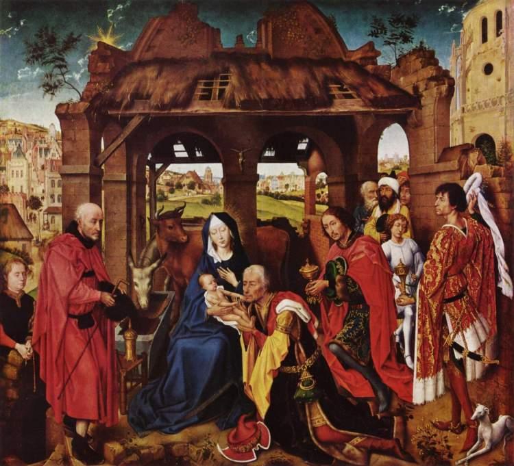 Rogier van der Weyden_Dreikönigsaltar Mitteltafel Anbetung der Heiligen Drei Könige Ursprünglich in St. Columba in Köln