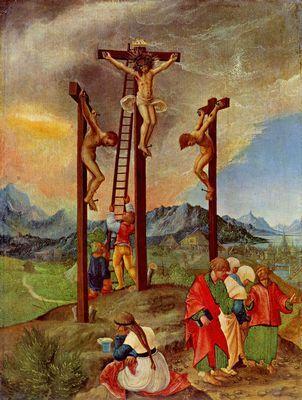 Abbildung unten: Gemälde zum Karfreitag. Albrecht Altdorfer: Kreuzigung Christi, 1526, Holz, 28,7 × 20,8 cm. Berlin, Gemäldegalerie.