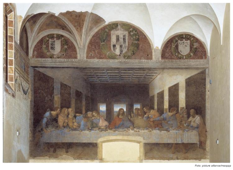 """Leonardo da Vinci (1452-1519) Gemälde """"Ultima Cena""""  oder auch zu Deutsch das  """"Abendmahl""""  hängt im Refektorium des Mailänder Klosters Santa Maria delle Grazie."""
