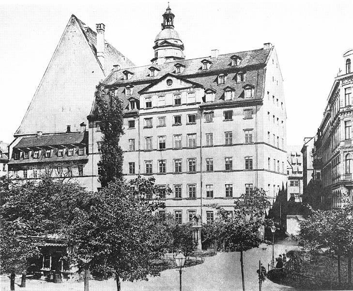 Altes Foto von der Thomasschule und Thomaskirche in Leipzig