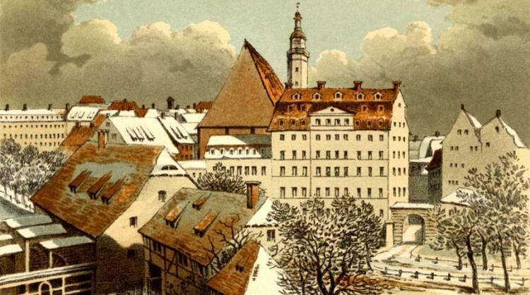 Thomasschule und Thomas Kirche in Leipzig