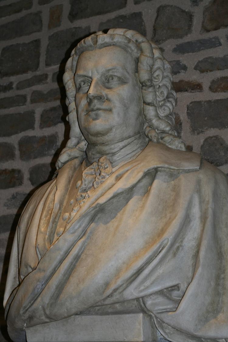 J.S. Bach im Eingang zum Bachsaal im Schloss Köthen. Einweihung in 2008.