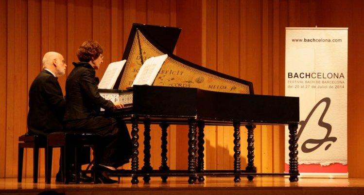 "Ton Koopman & Tini Mathot  am Cembalo BWV 1080 ""Kunst der Fuge"" in Barcelona im Palau de la Música Catalana"""