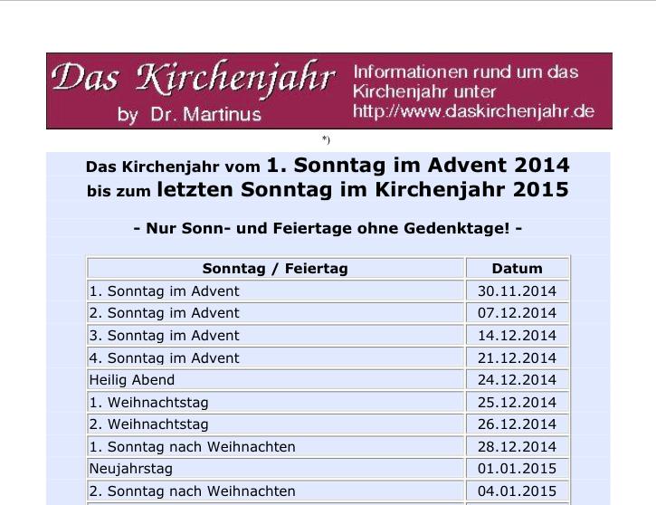 Evangelischer Kirchenkalender 2014 2015