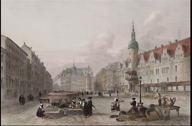 Der Rathausvorplatz von Leipzig.