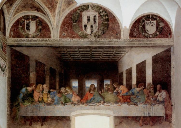 """Das Abendmahl des italienischen Malers Leonardo da Vinci ist eines der berühmtesten Wandgemälde der Welt. Das in der Seccotechnik ausgeführte Werk wurde in den Jahren 1494 bis 1498 im Auftrag des Mailänder Herzogs Ludovico Sforza geschaffen. Die Kirche """"Santa Maria delle Grazie"""" ist eine Dominikanerkirche in Mailand. Die seit 1980 auf der Liste des Weltkulturerbe der UNESCO stehende Kirche ist insbesondere dafür berühmt, dass sie Leonardo da Vincis in den Jahren 1494 bis 1498 geschaffene Seccomalerei Das Abendmahl beherbergt, das sich an der Nordwand des Refektoriums (Speisesaal) befindet."""