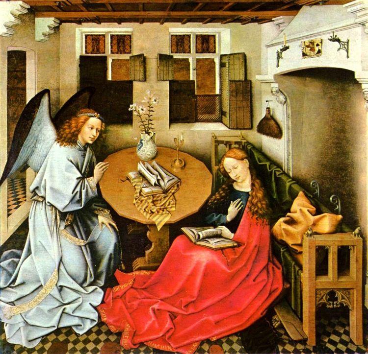 Der Erzengel Gabriel verkündet der Jungfrau Maria die Ankunft des Herrn. Ölgemälde von Robert Campin 1420–1440 Brüssel