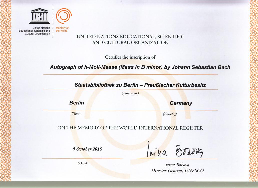 UNESCO-Dokument Weltkulturerbe h-;oll Messe BWV 232 von J.S. Bach