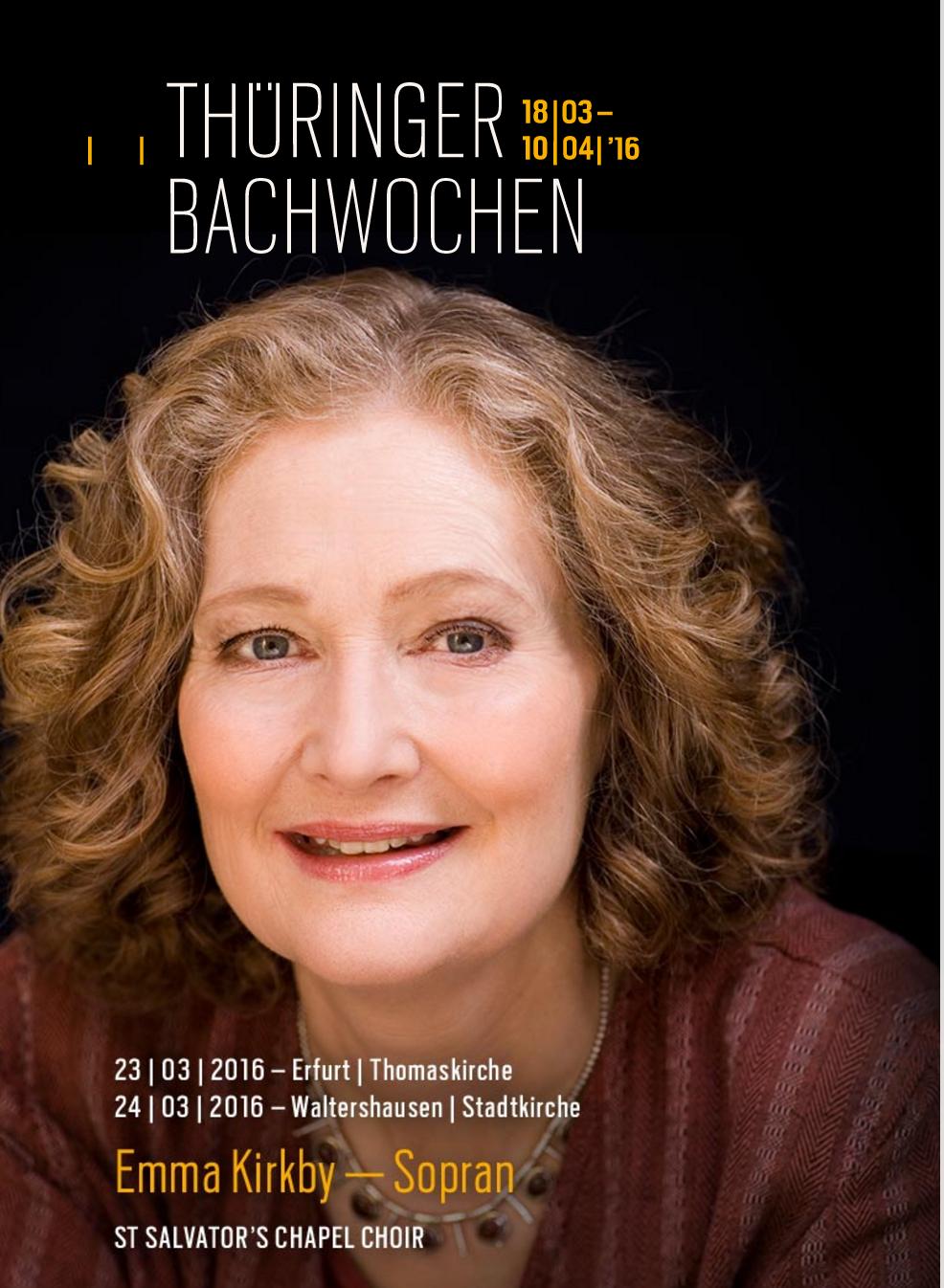 Emma Kirby (Sopran )Thüringer Bachwoche 2016.