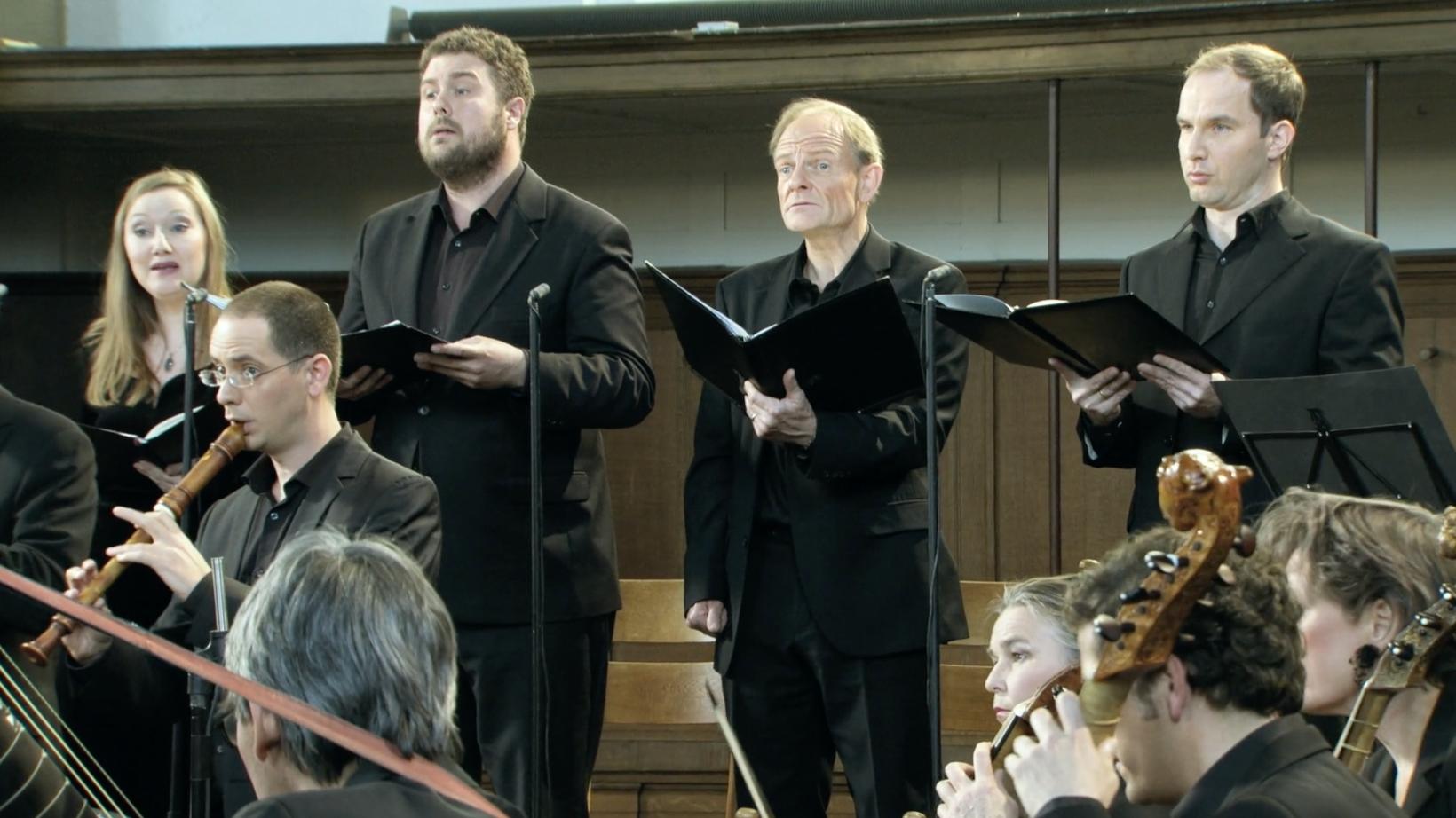 ALL OF BACH BWV 106 Gesangs-Solisten von links: Dorothee Mields soprano, Alex Potter alto, Charles Daniels tenor, Tobias Berndt bass.