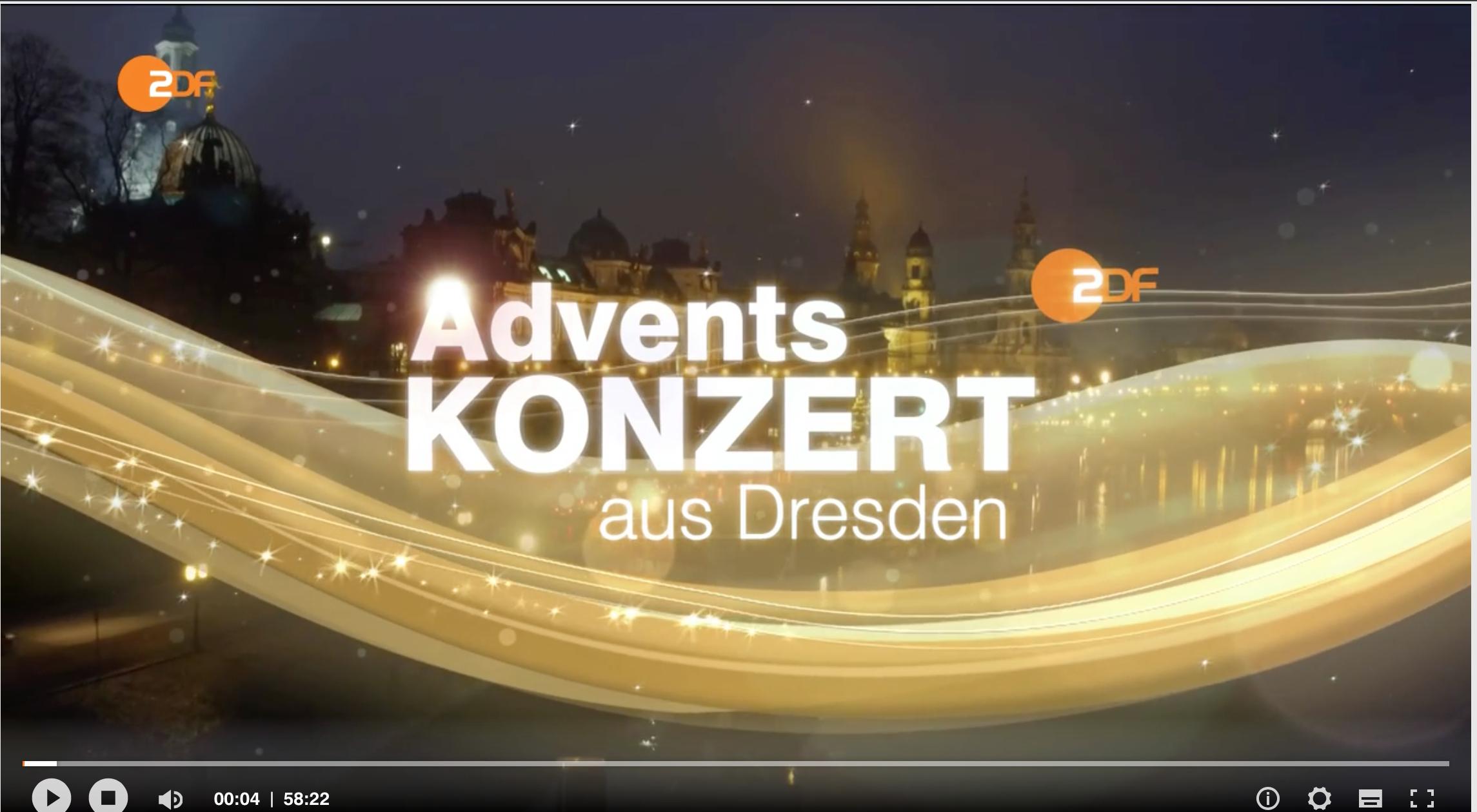 Zum Nachhören - bis zum 23.12.2016 - 18:00 Uhr ZDF-Adventskonzert aus der Frauenkirche Dresden!