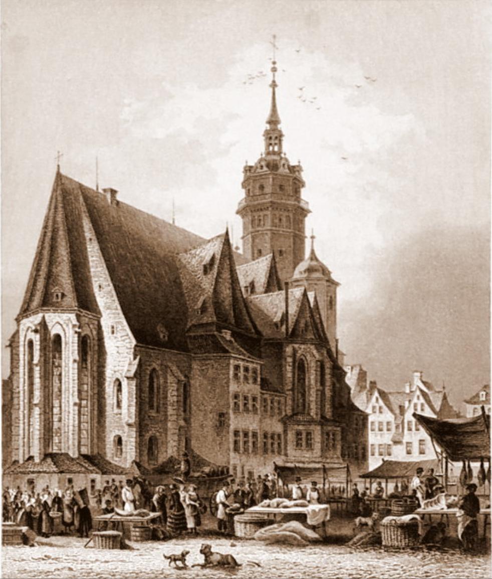 Die Nikolaikirch zu Leipzig um ca. 1850