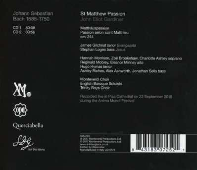 CD Gardiner BWV 244 Rückseite